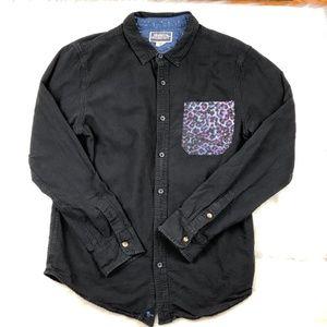 Modern Amusement Button Down Shirt Cotton Linen L